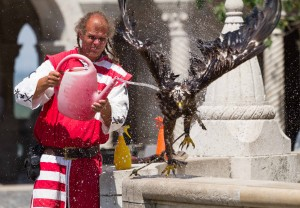 Falconer with his eagle at Fisherman's Bastion, Budapest