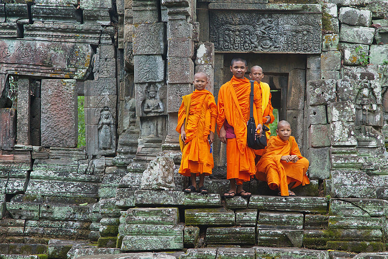 A group of monks at Preah Pithu T, Angkor, Siem Reap, Cambodia