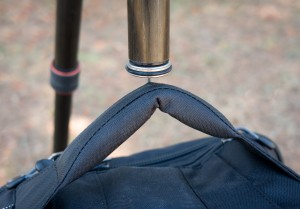 A metal hook at the end of the center column helps to stabilize your tripod. You'll be able to attach your bag to it.